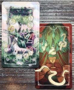 Ostara Tarot - Five of Cups and Nine of Coins