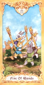 Maruco Animal Tarot - Five of Wands