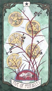 Forager's Daughter Tarot - Five of Pentacles