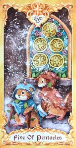 Maruco Animal Tarot - Five of Pentacles
