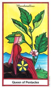 Herbal Tarot - Queen of Pentacles - Marshmallow