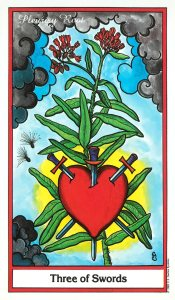 Herbal Tarot - Three of Swords - Pleurisy Root