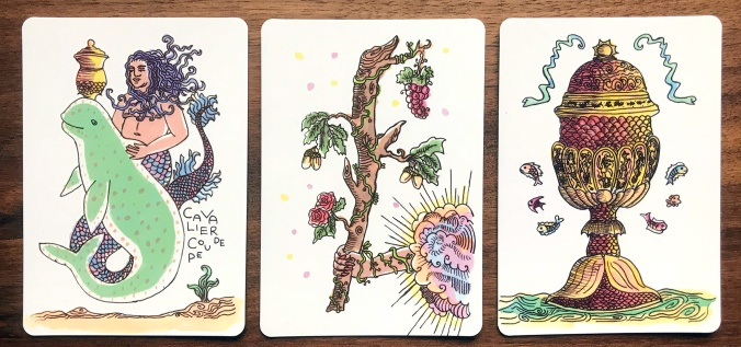 Tarot Sirene - Knight of Cups, Ace of Wands, Ace of Cups