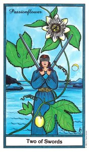 Herbal Tarot - Two of Swords - Passionflower