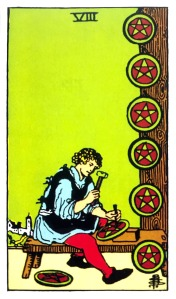 Albano Waite Tarot - Eight of Pentacles