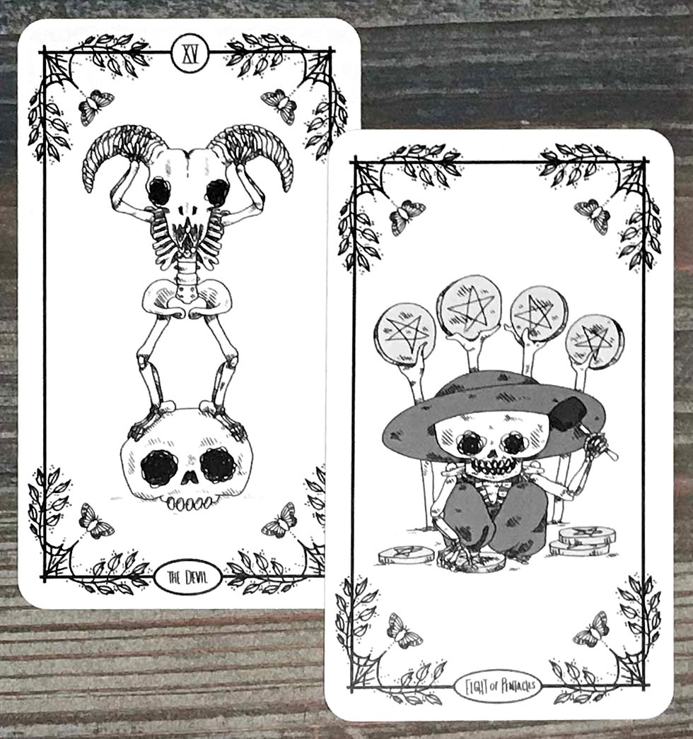 SkeleTarot - The Devil and Eight of Pentacles