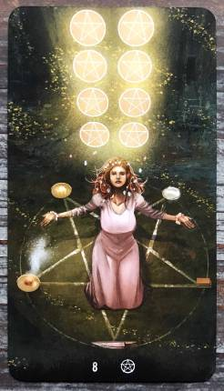 Tarot of Haunted House - Eight of Pentacles