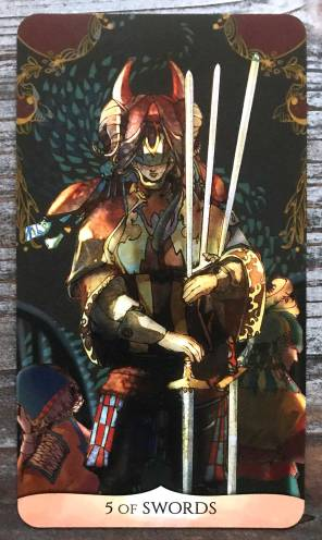 Traditional Manga Tarot - Five of Swords