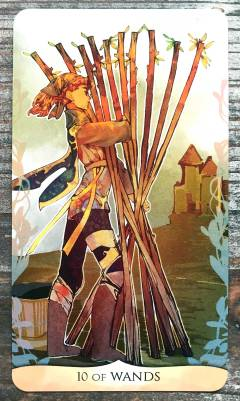 Traditional Manga Tarot - Ten of Wands