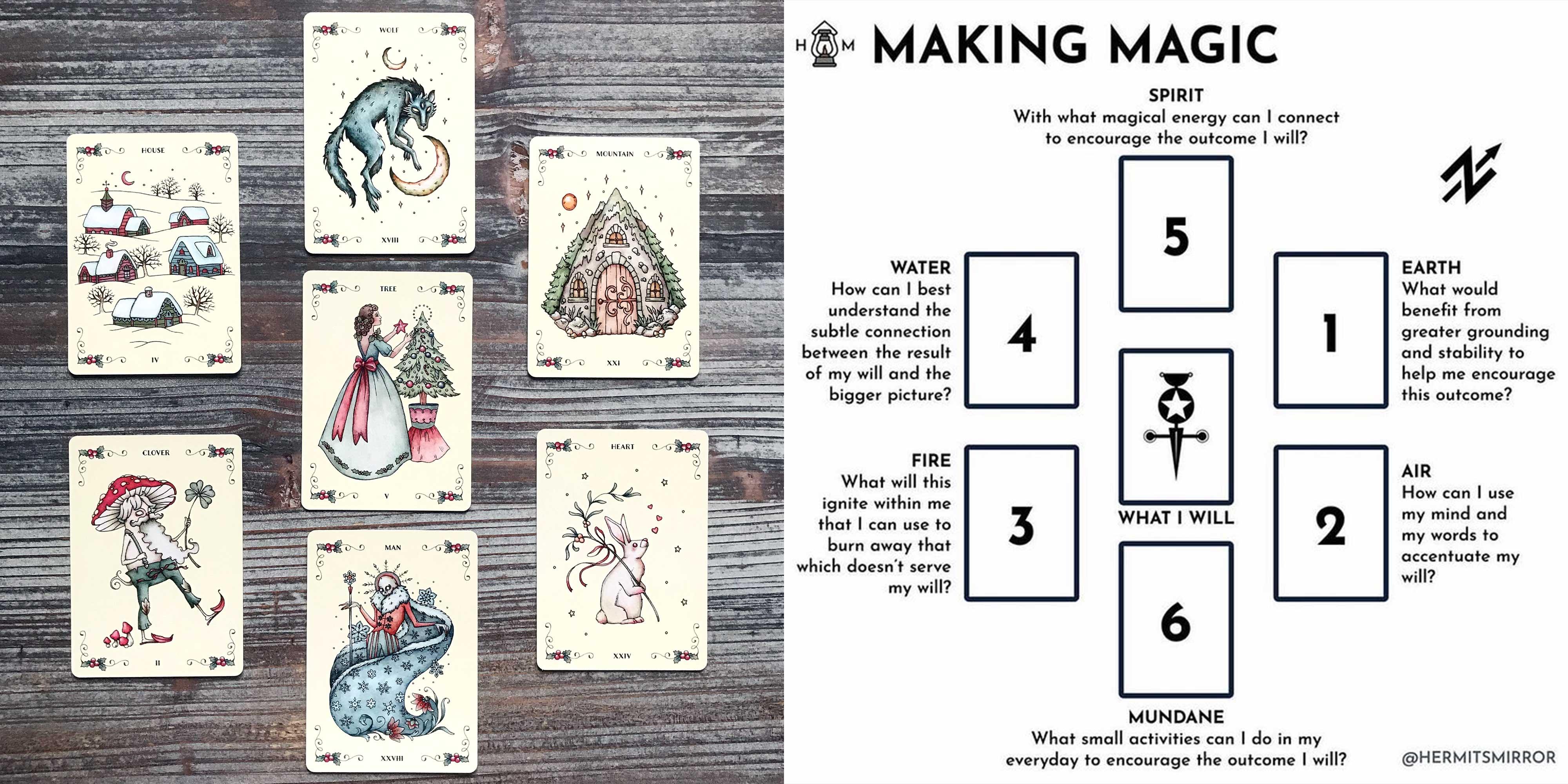 Yuletide Tales Lenormand - Making Magic Tarot Spread