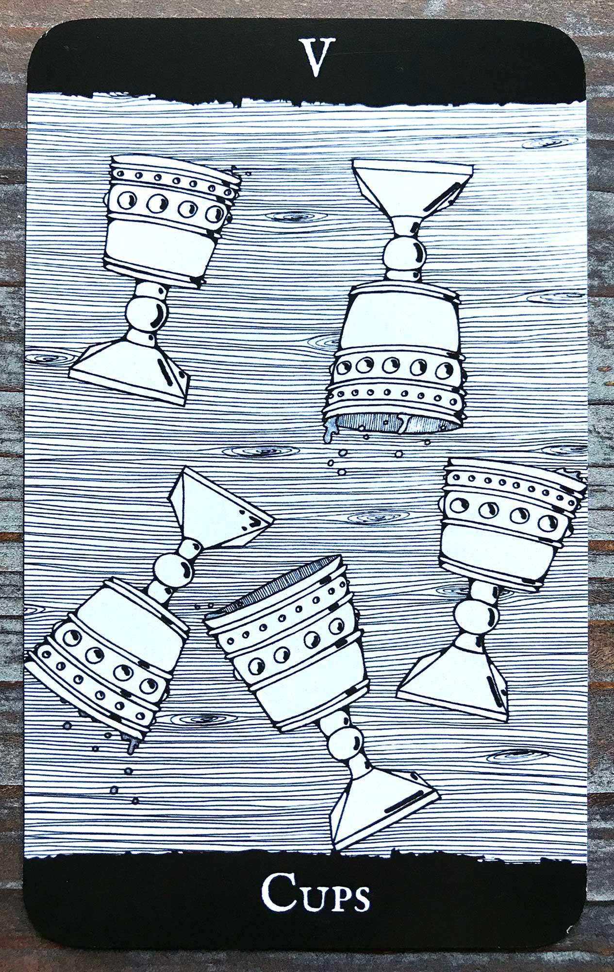 Garnet Witch Tarot - Five of Cups