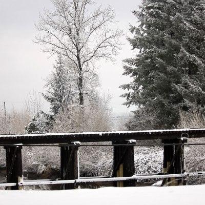 Snowy Train Tracks