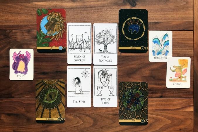 Black Line Tarot, Wild Elemental Oracle, Transforming Dragons