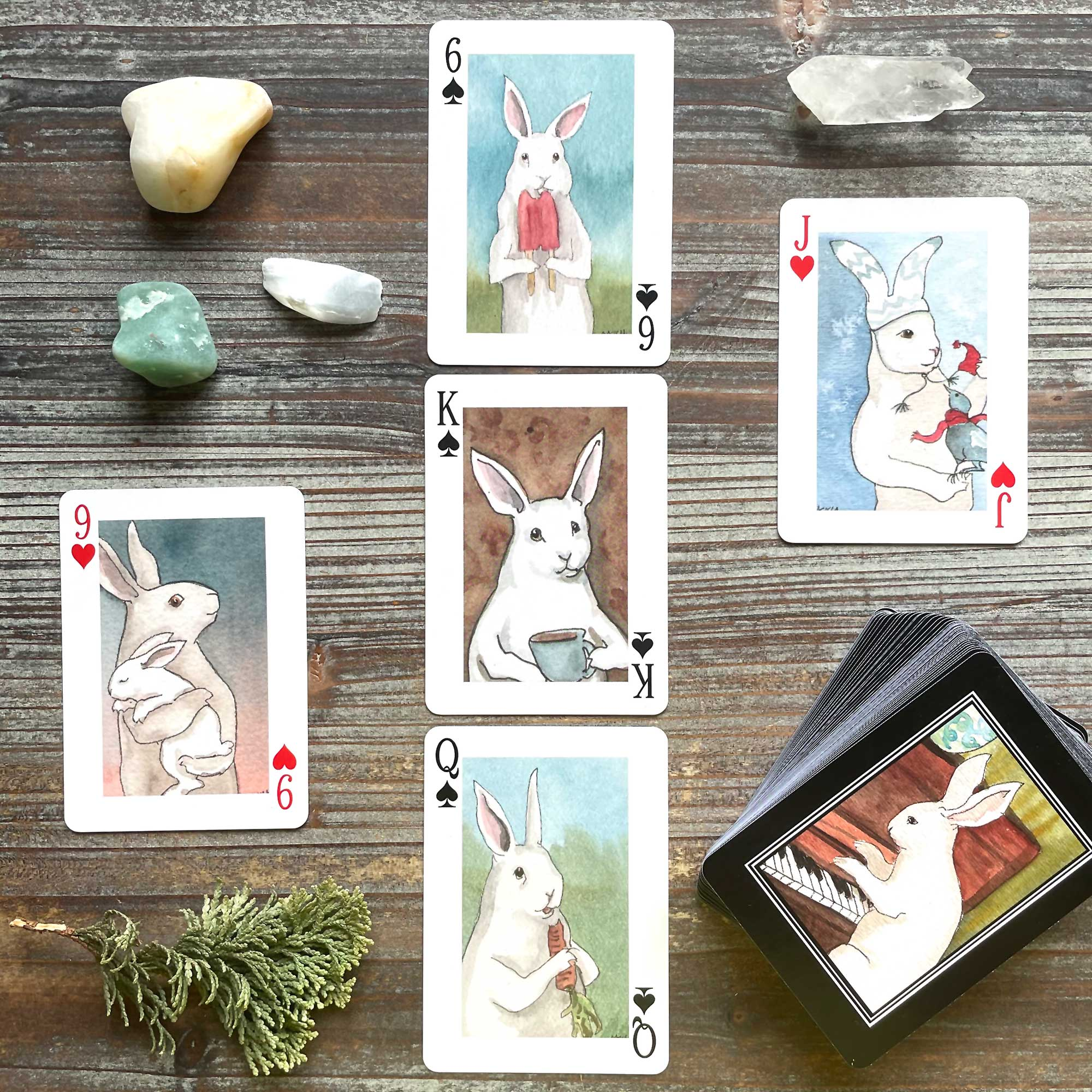 Adorable White Rabbits Playing Cards