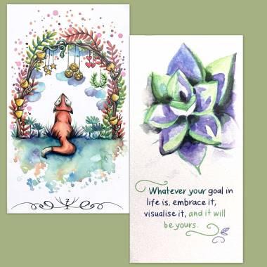 Tarot Renard and Flower Fortune Cards