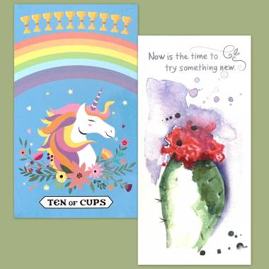Rainbow Unicorn Tarot and Flower Fortune Cards