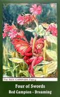 Vintage Flower Fairies Tarot - Four of Swords