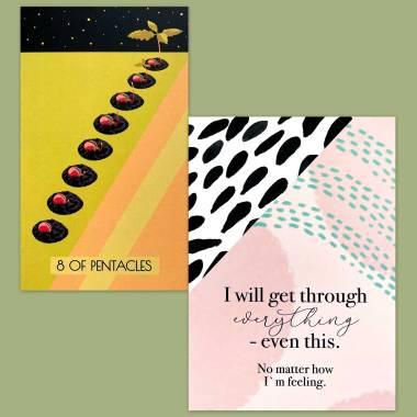 Veleda Woods Tarot and Less Anxiety Affirmation Cards