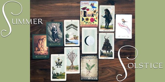 Litha Sabbat Art Card, Pagan Underworlds Tarot, Compendium of Witches Oracle, Healing Herbal Cards Vol 1 & 2