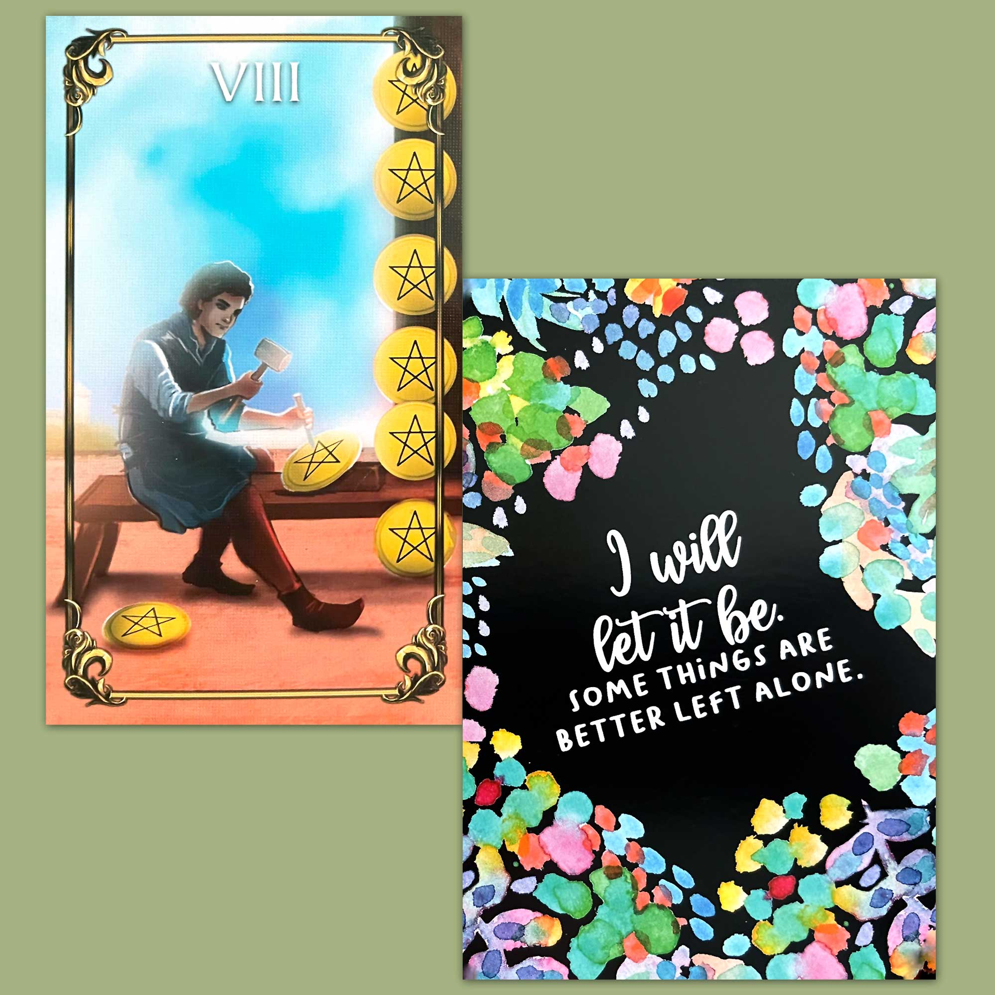 The Master Tarot and Less Anxiety Affirmation Cards