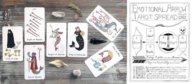 Emotional Arrow Tarot Spread - Mermaid Cats Tarot