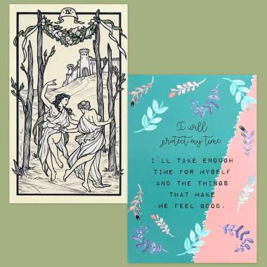 Fyodor Pavlov Tarot and Less Anxiety Affirmation Cards