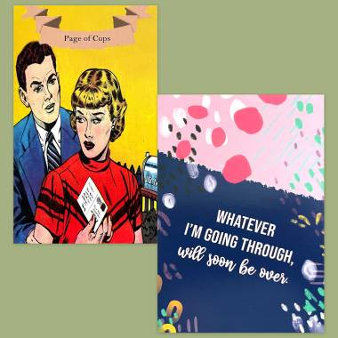 Golden Age of Romance Comics Tarot and Less Anxiety Affirmation Cards