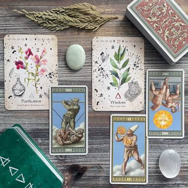 Green Witch Oracle and Michelangelo Tarot