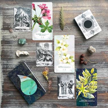 Essential Oils Healing Cards and Vintage Book Illustration Tarot
