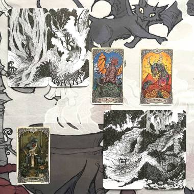 The Hollow Wood Game Cards and Old Whispers Tarot